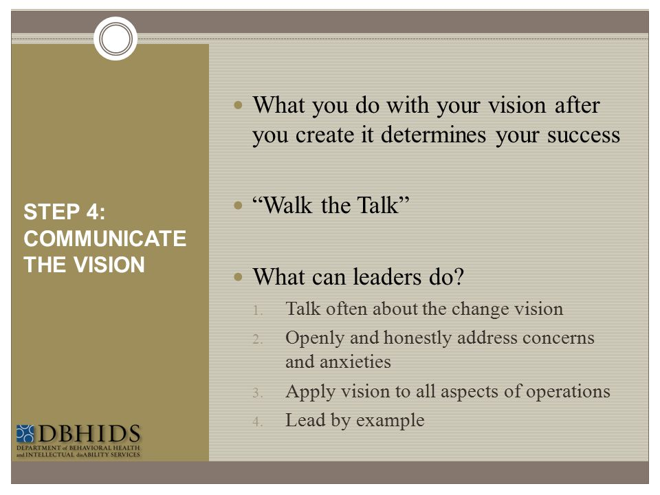 STEP 4: COMMUNICATE THE VISION