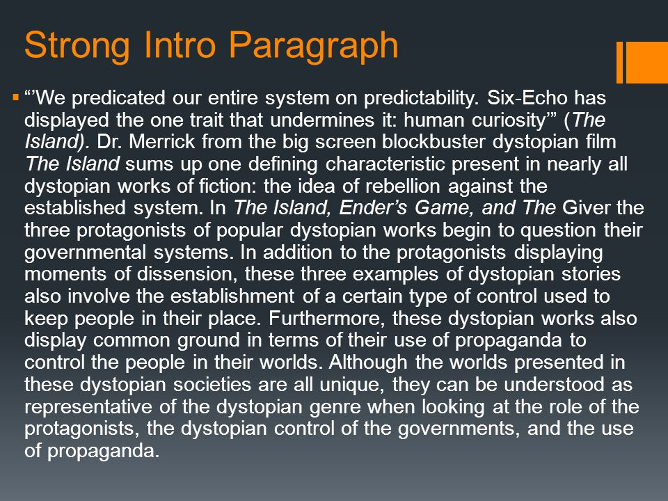 dystopian synthesis essay ppt video online  6 strong intro paragraph ""