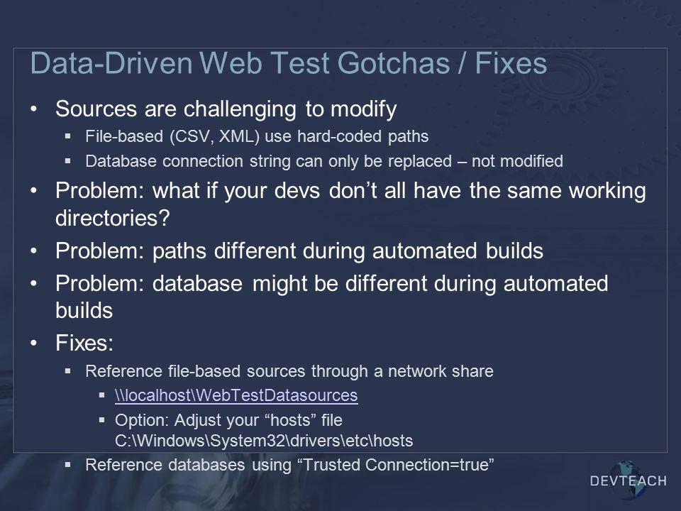 Data-Driven Web Test Gotchas / Fixes