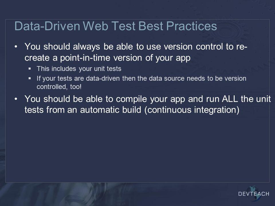 Data-Driven Web Test Best Practices