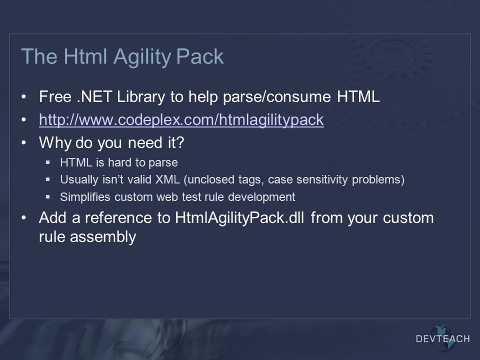 The Html Agility Pack Free .NET Library to help parse/consume HTML