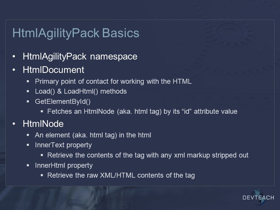 HtmlAgilityPack Basics