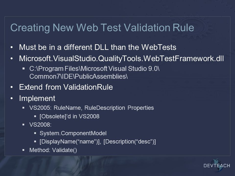Creating New Web Test Validation Rule