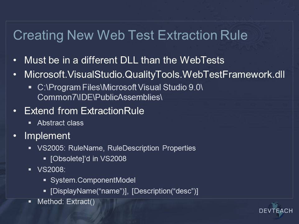Creating New Web Test Extraction Rule
