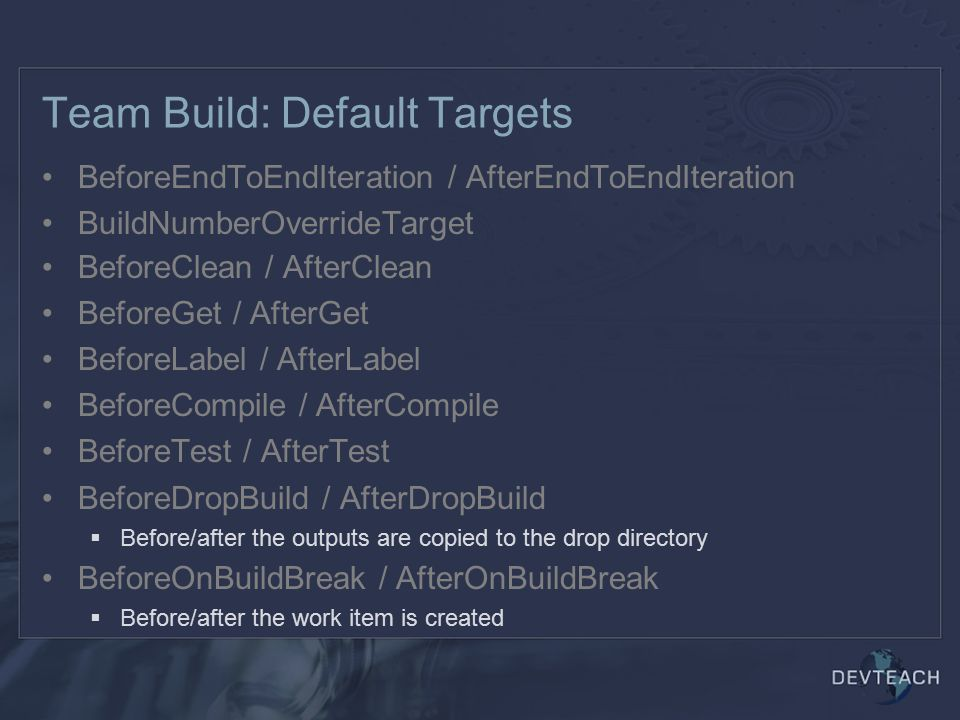 Team Build: Default Targets