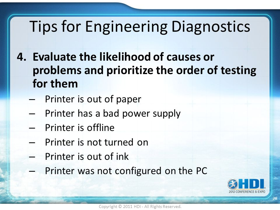 Tips for Engineering Diagnostics
