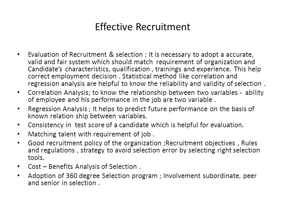 Effective Recruitment