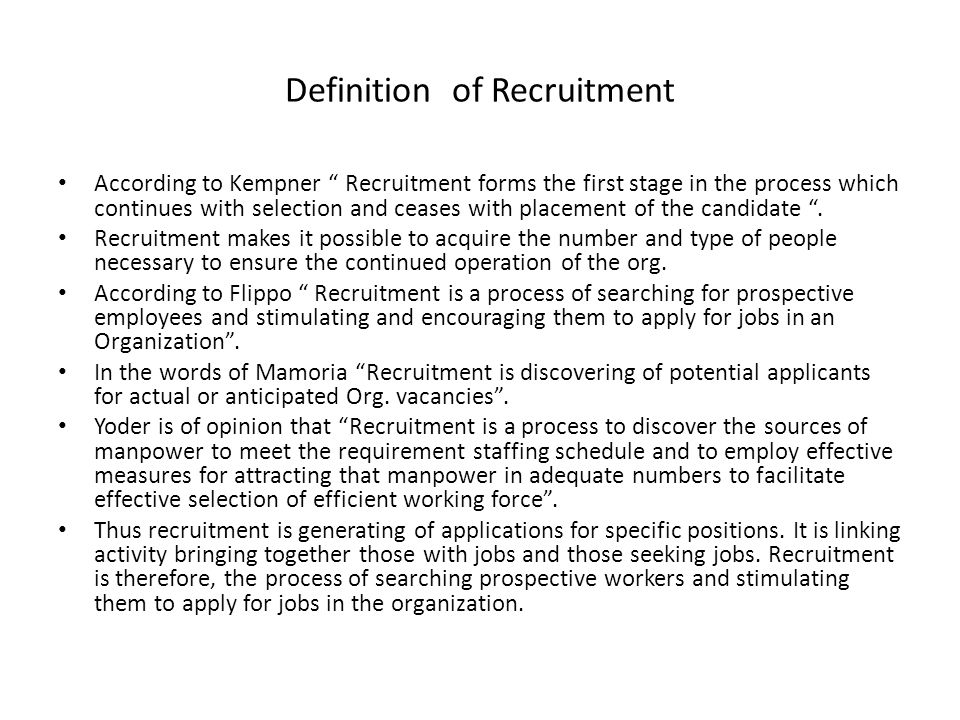 Definition of Recruitment