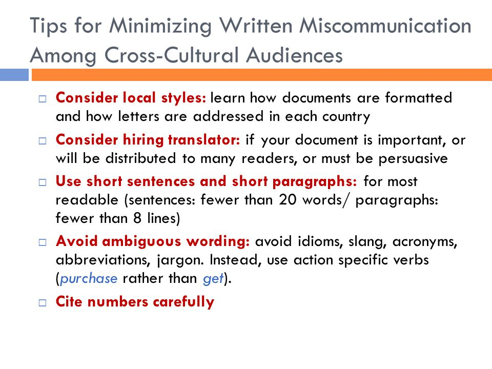 Tips for Minimizing Written Miscommunication Among Cross-Cultural Audiences