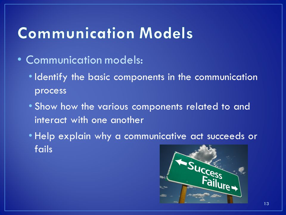 Communication Models Communication models: