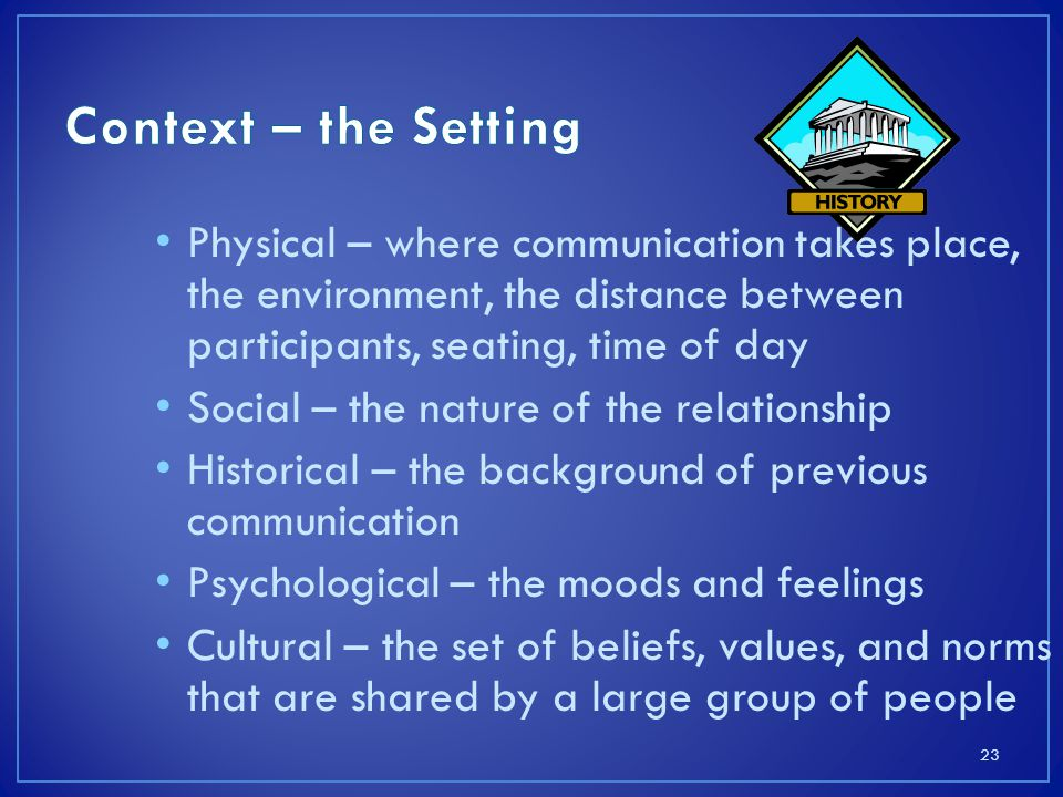 Context – the Setting Physical – where communication takes place, the environment, the distance between participants, seating, time of day.