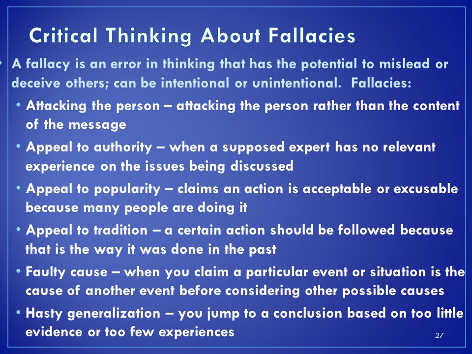 Critical Thinking About Fallacies