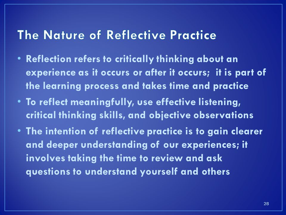 The Nature of Reflective Practice