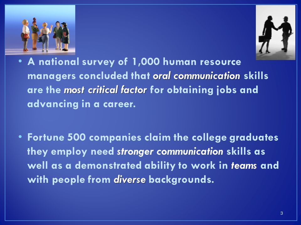 A national survey of 1,000 human resource managers concluded that oral communication skills are the most critical factor for obtaining jobs and advancing in a career.