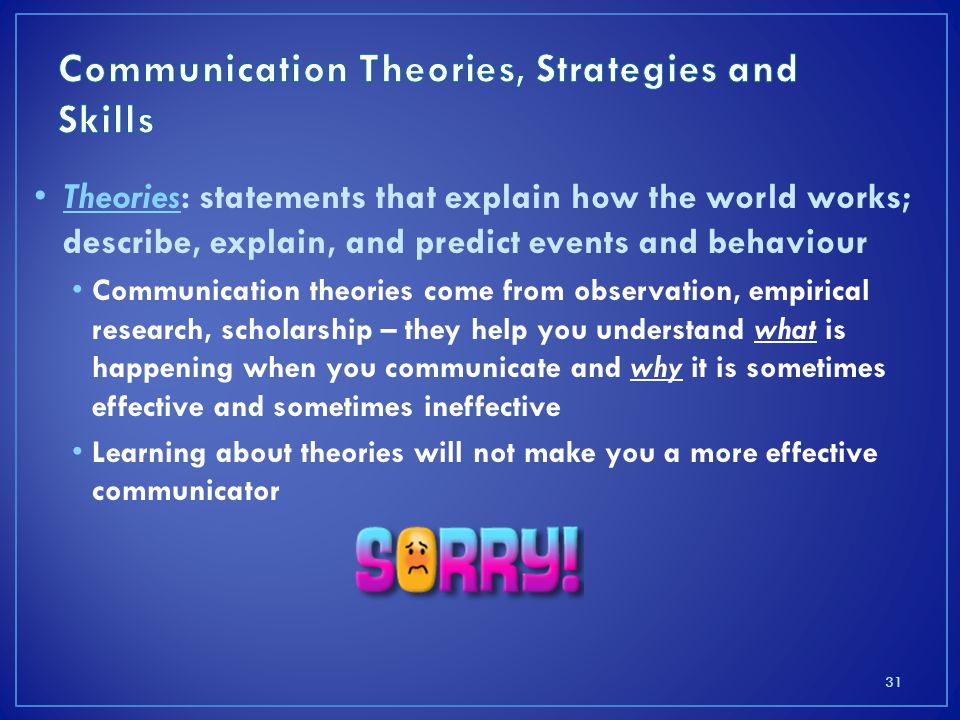 Communication Theories, Strategies and Skills