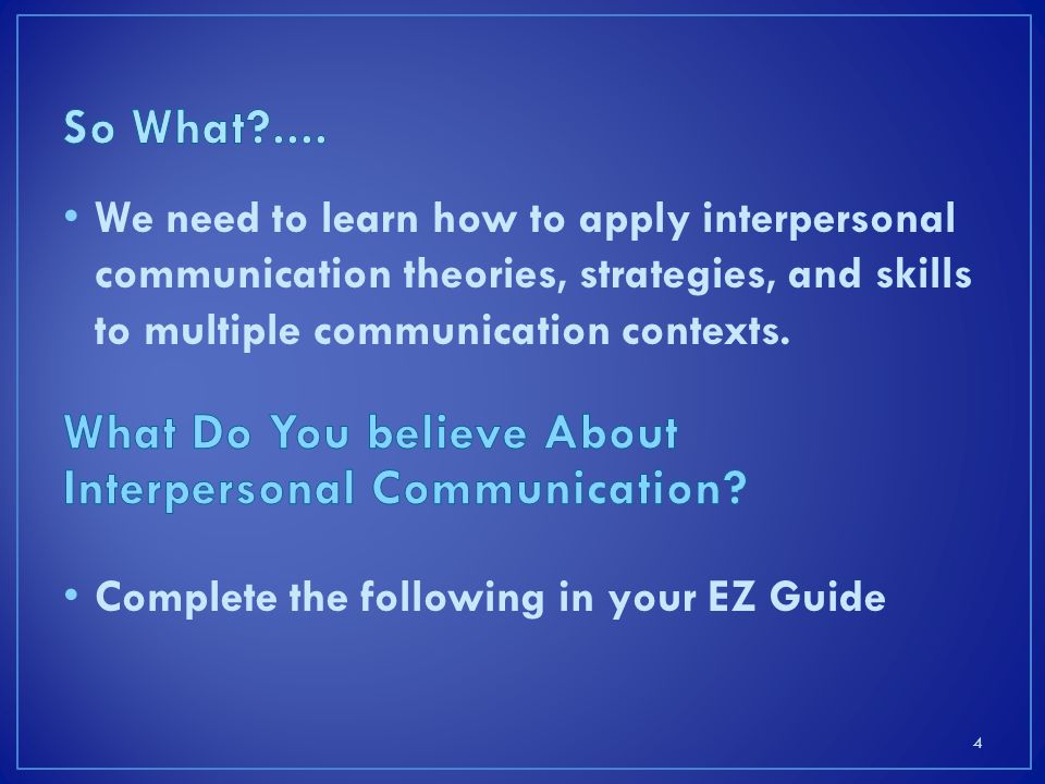 What Do You believe About Interpersonal Communication