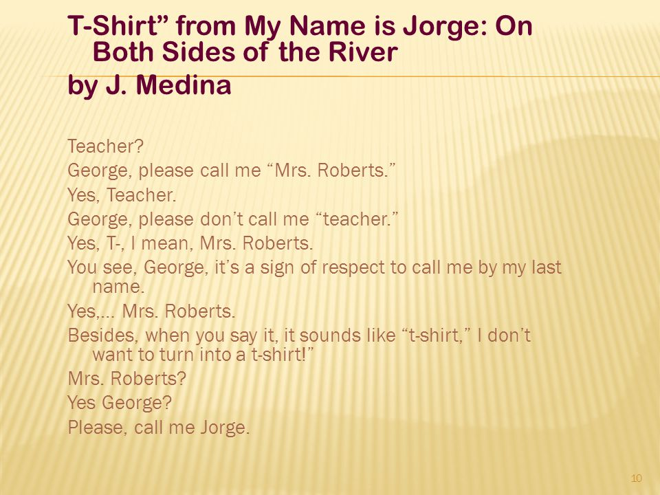 T-Shirt from My Name is Jorge: On Both Sides of the River