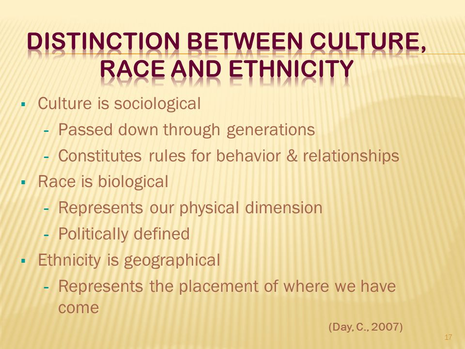Distinction Between Culture, Race and Ethnicity