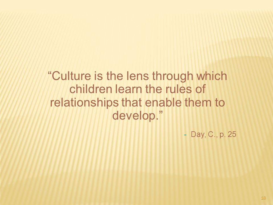 Culture is the lens through which children learn the rules of relationships that enable them to develop.