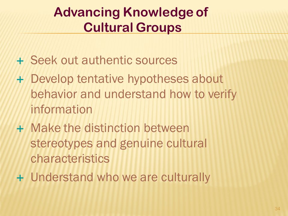 Advancing Knowledge of Cultural Groups