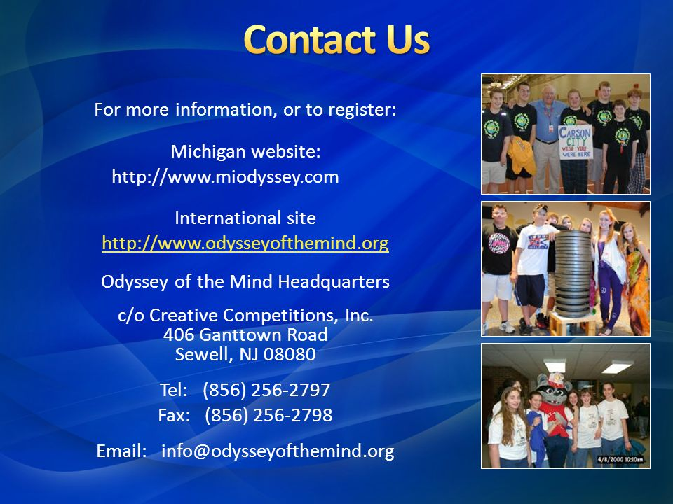 Contact Us For more information, or to register: Michigan website: