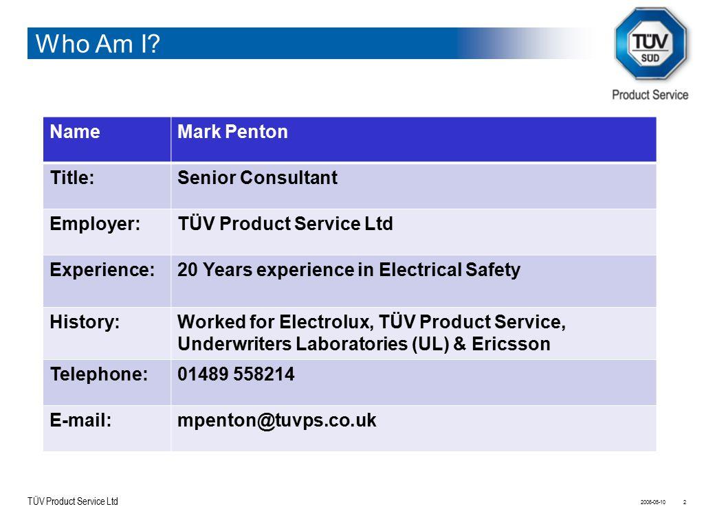 Who Am I Name Mark Penton Title: Senior Consultant Employer: