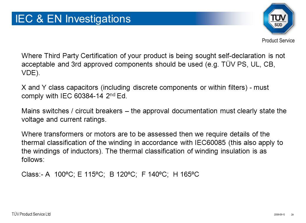 IEC & EN Investigations