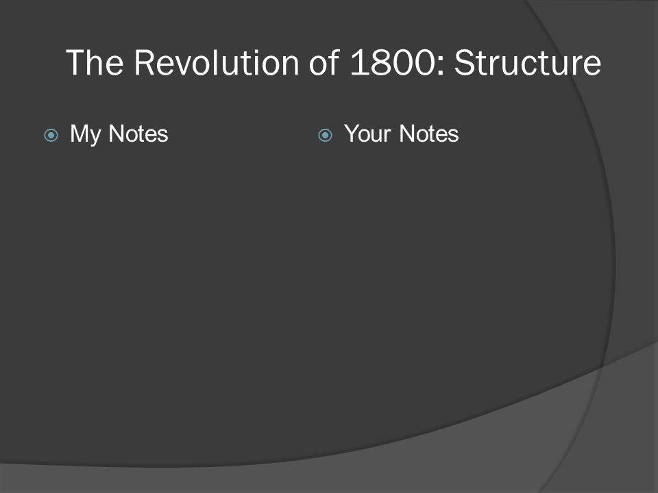 The Revolution of 1800: Structure