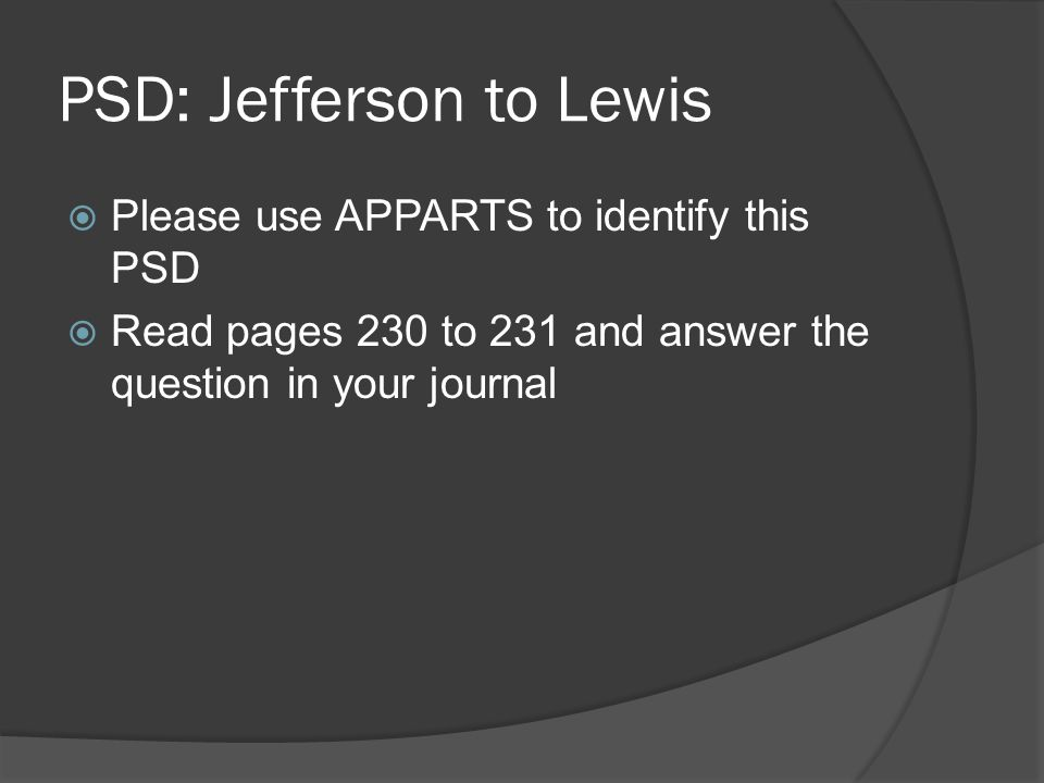 PSD: Jefferson to Lewis