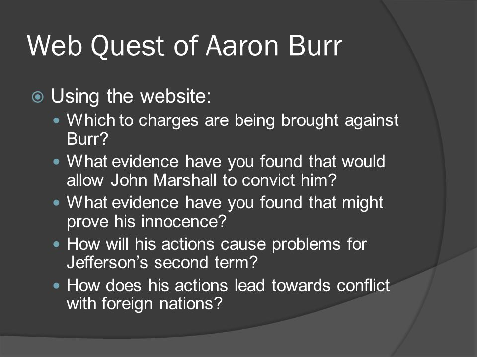 Web Quest of Aaron Burr Using the website: