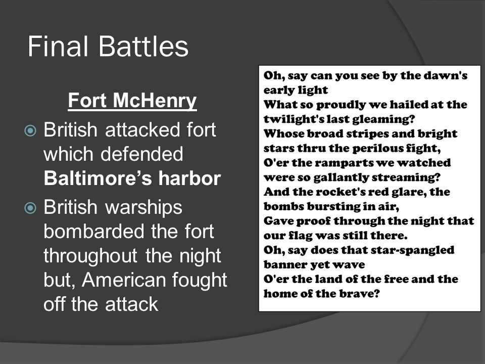 Final Battles Fort McHenry