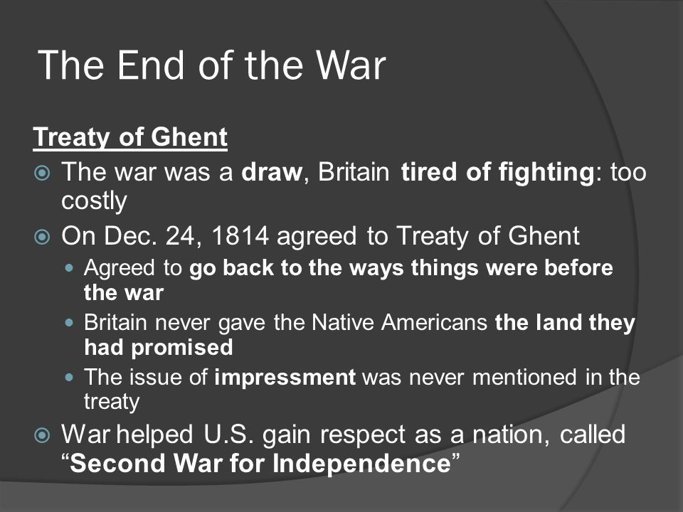 The End of the War Treaty of Ghent