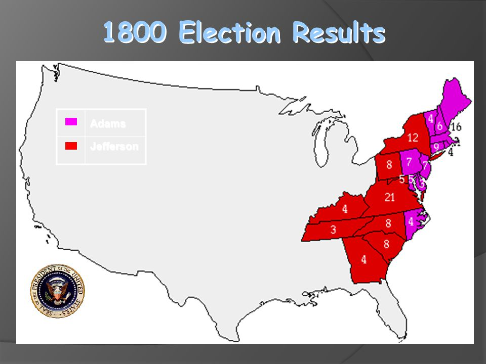 1800 Election Results Adams Jefferson