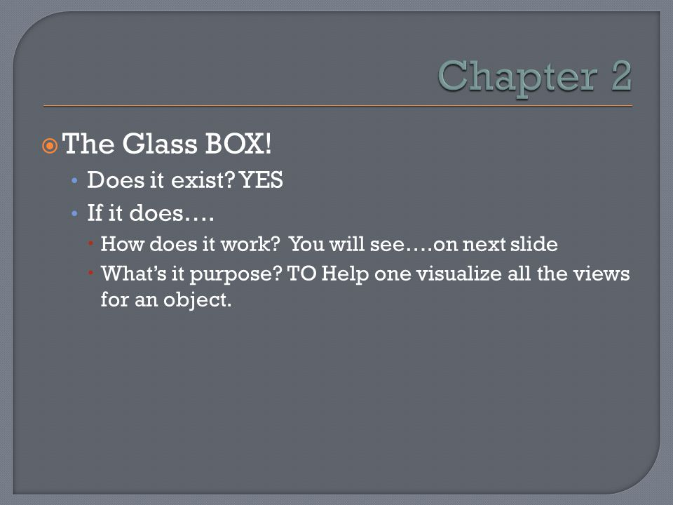 Chapter 2 The Glass BOX! Does it exist YES If it does….