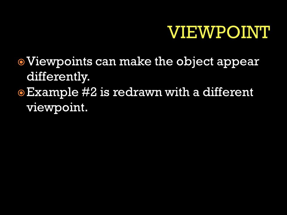 VIEWPOINT Viewpoints can make the object appear differently.