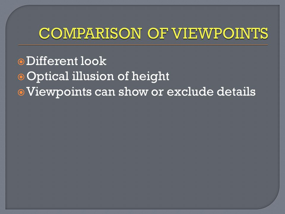 COMPARISON OF VIEWPOINTS