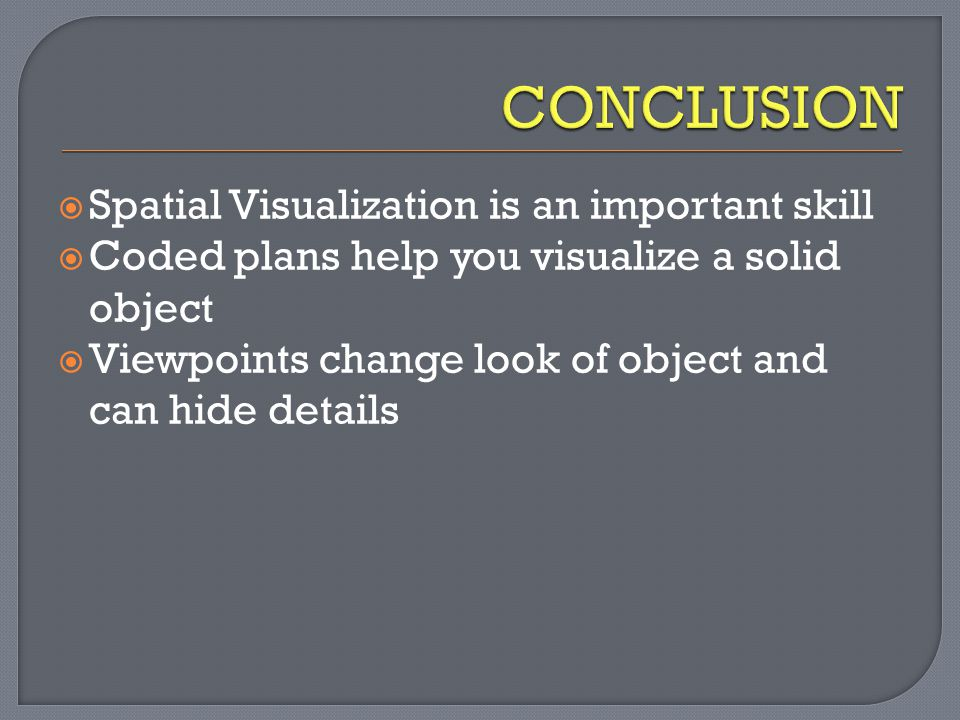 CONCLUSION Spatial Visualization is an important skill