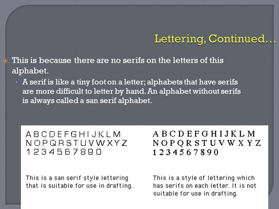 Lettering, Continued… This is because there are no serifs on the letters of this alphabet.