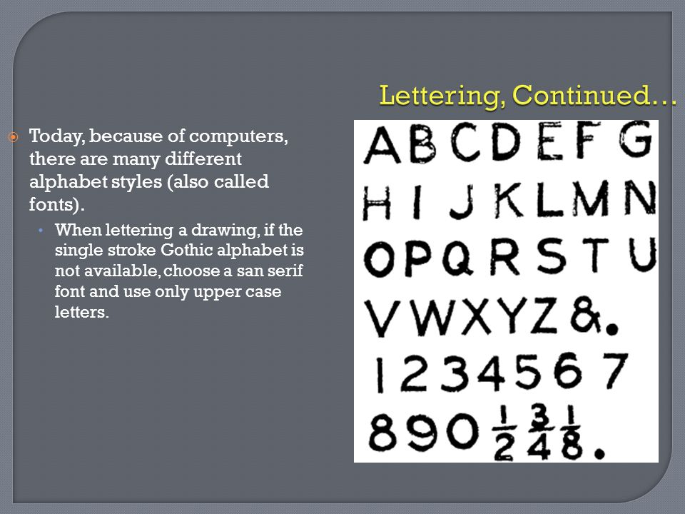 Lettering, Continued… Today, because of computers, there are many different alphabet styles (also called fonts).