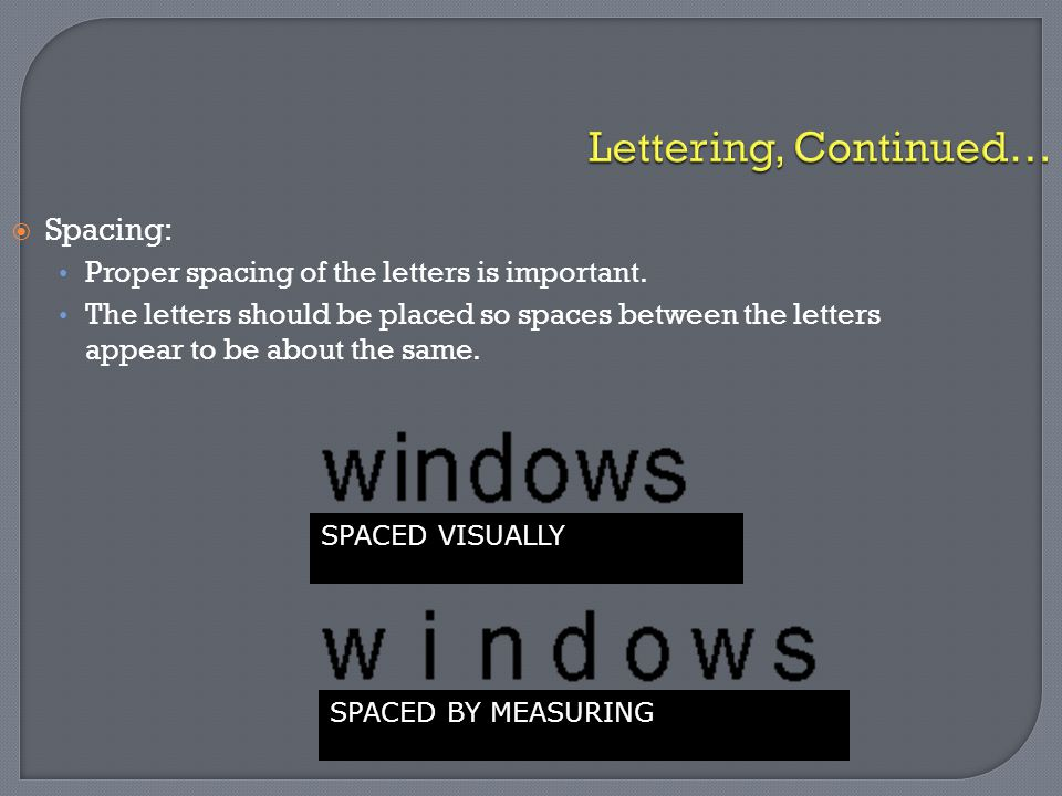 Lettering, Continued… Spacing: