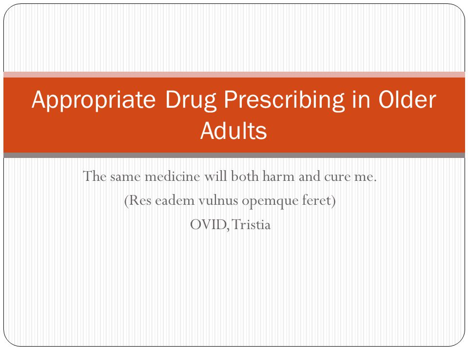 Appropriate Drug Prescribing in Older Adults