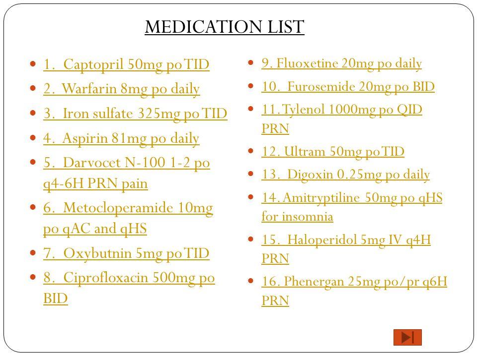 MEDICATION LIST 1. Captopril 50mg po TID 2. Warfarin 8mg po daily
