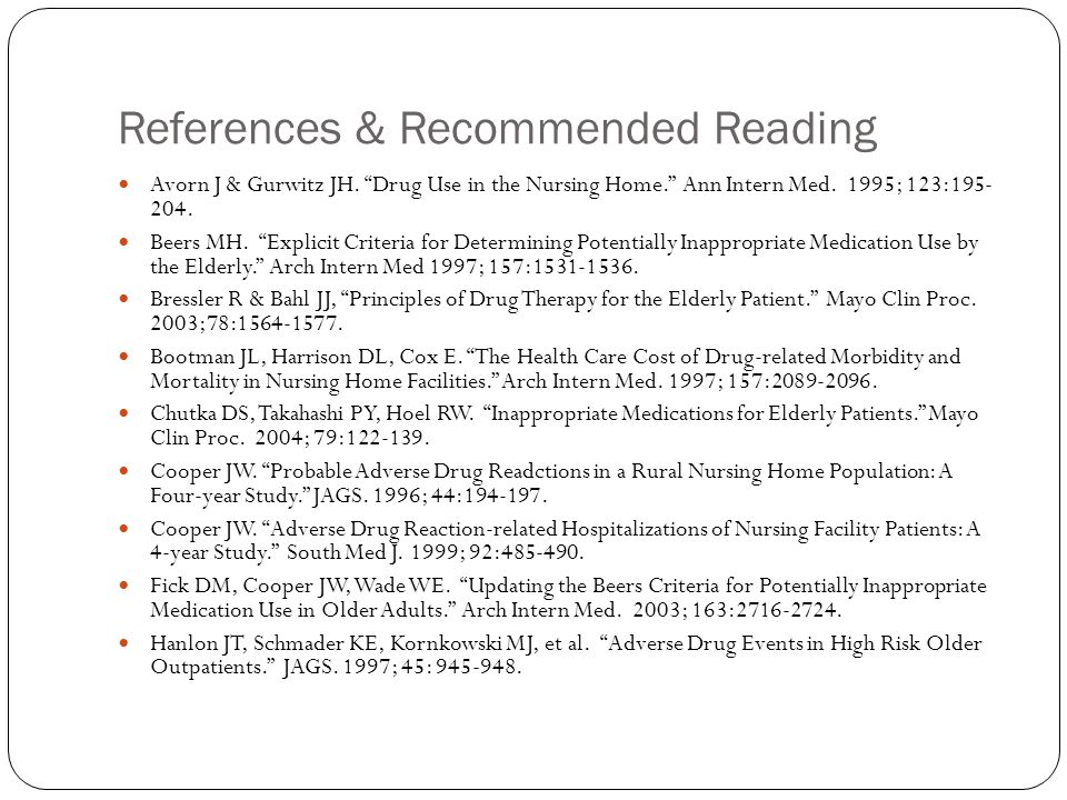 References & Recommended Reading