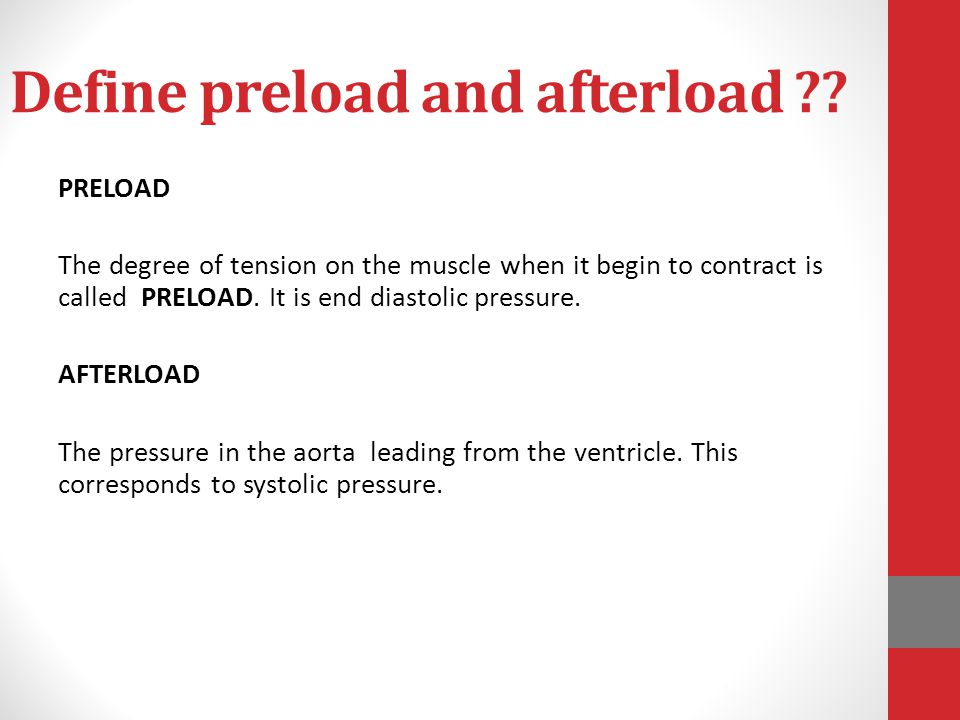 Define preload and afterload