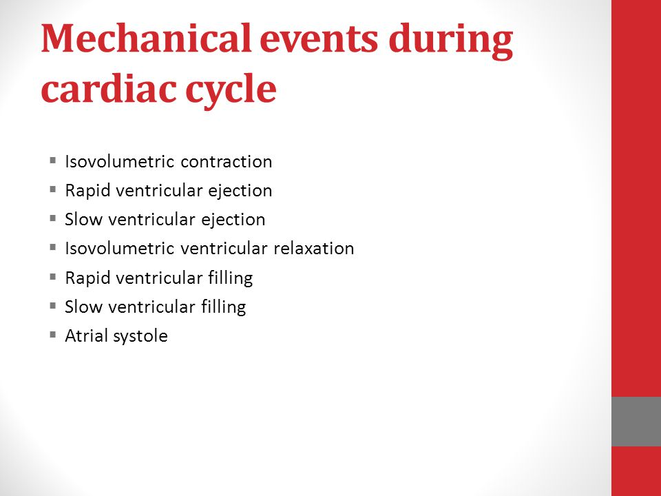 Mechanical events during cardiac cycle