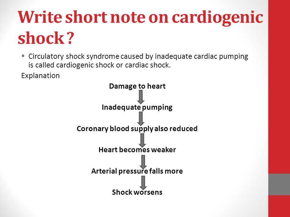 Write short note on cardiogenic shock