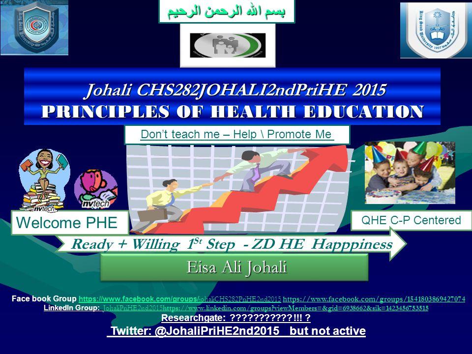 Johali CHS282JOHALI2ndPriHE 2015 PRINCIPLES OF HEALTH EDUCATION