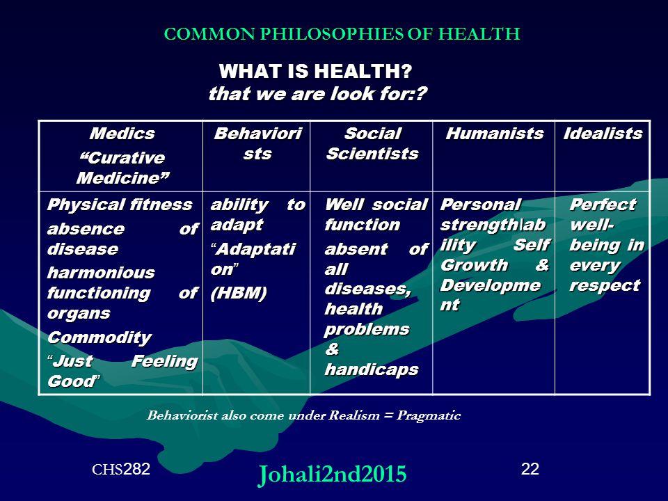 COMMON PHILOSOPHIES OF HEALTH