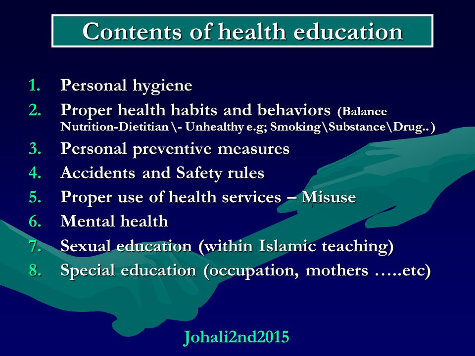 Contents of health education