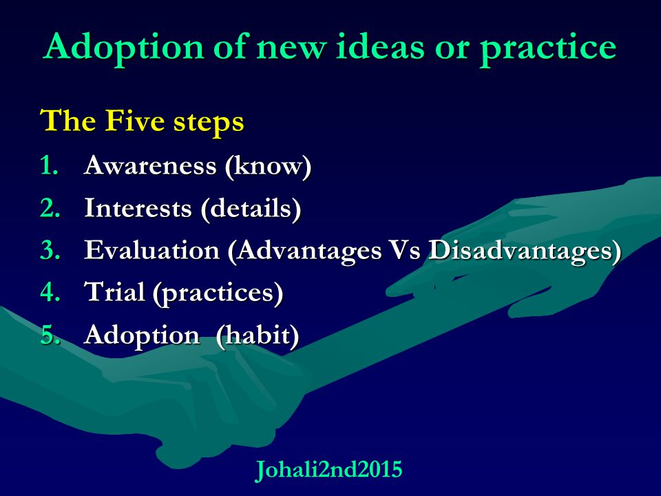 Adoption of new ideas or practice